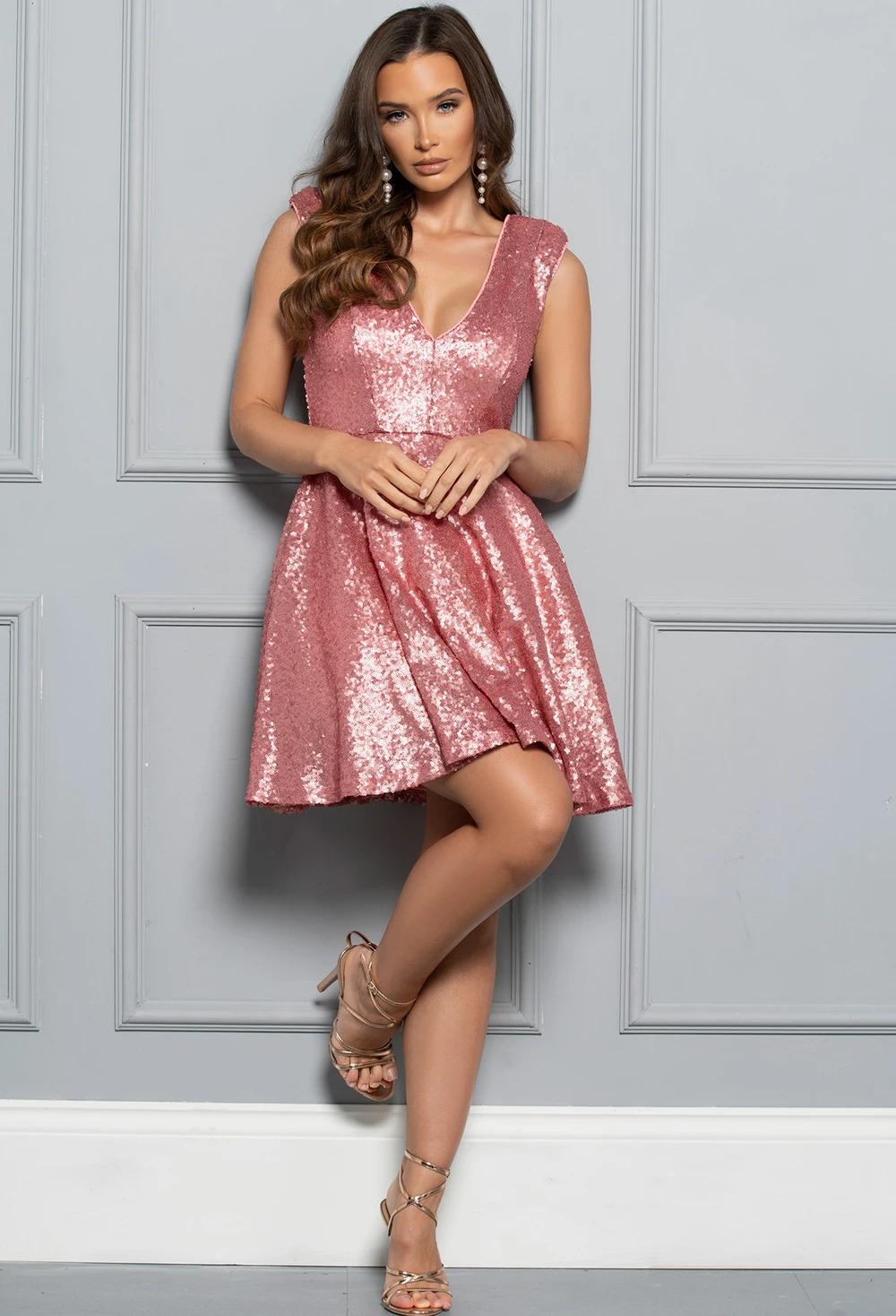 Sparkle Forever Baby Pink Sequin Skater Mini Dress