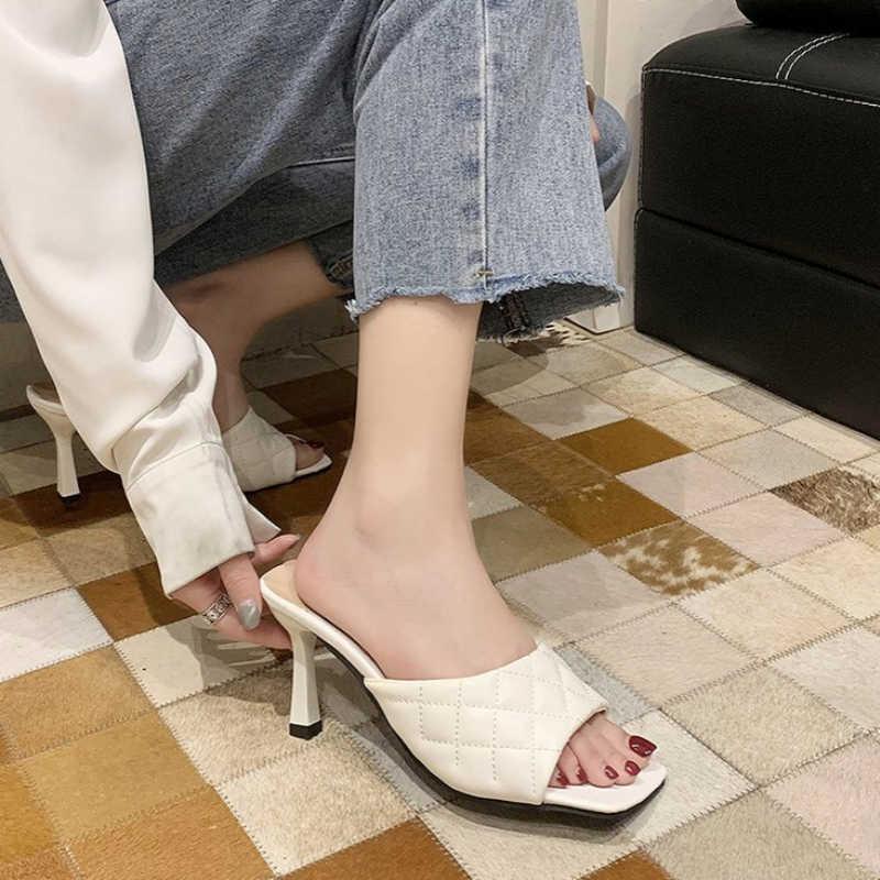 Sqaure Toe Quilted Heeled Mule Black PU Leather Kitten Heel Shoes