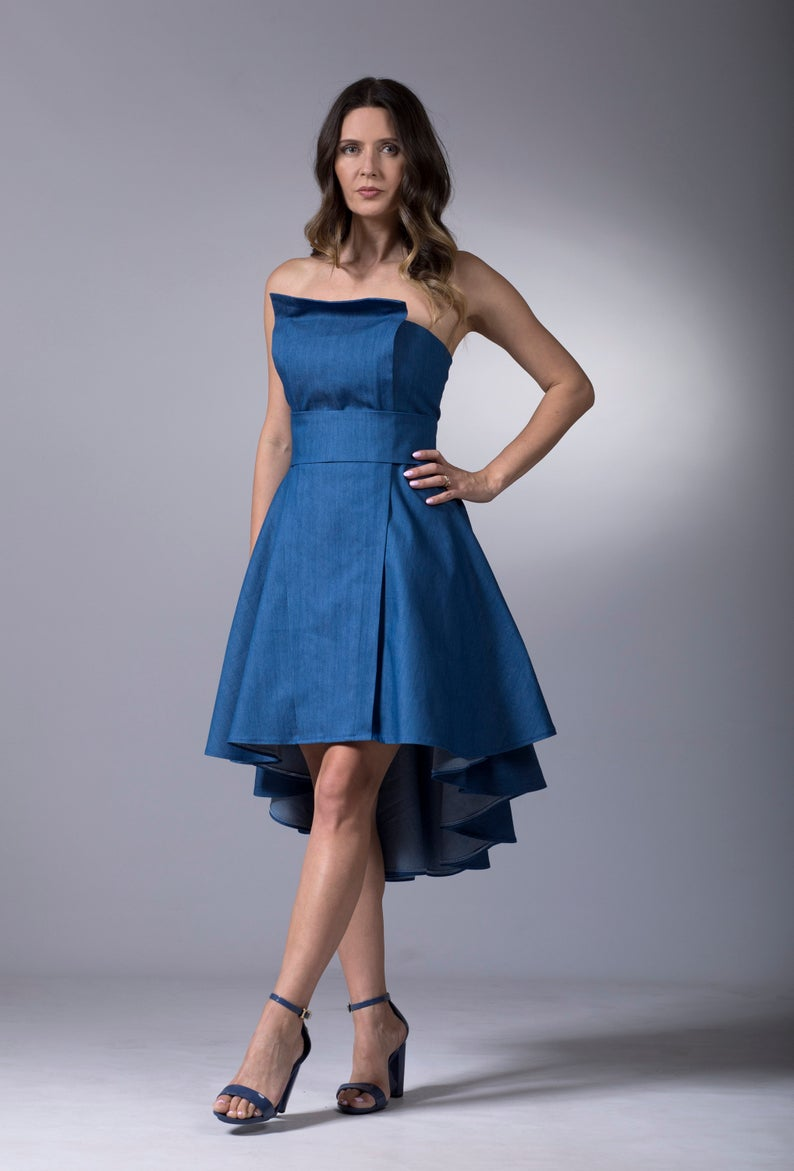 Strapless Denim Dress, Asymmetric Dress