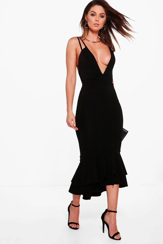 Strappy Peplum Hem Midi Dress