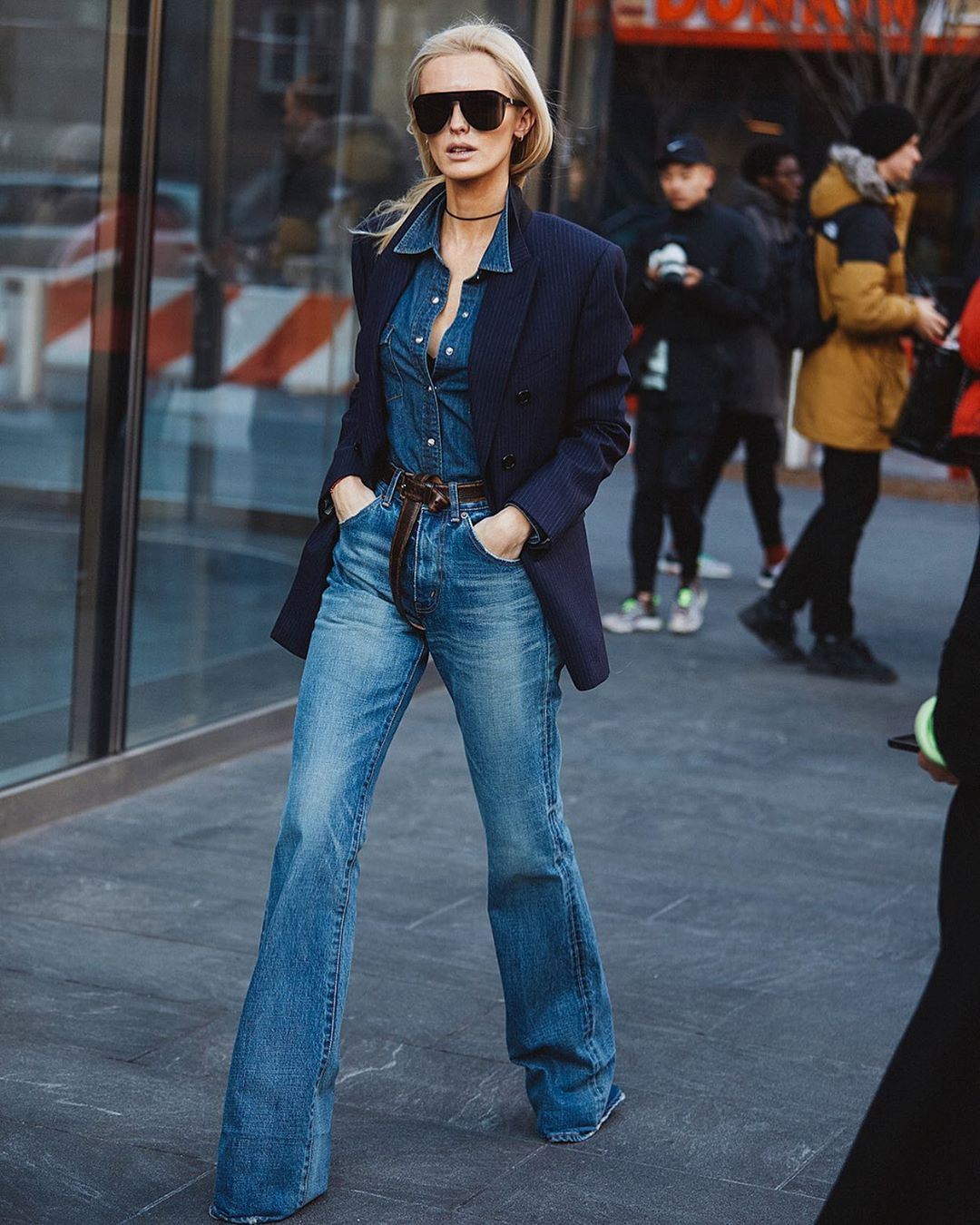 Stretch Denim jacket with boot-cut jeans