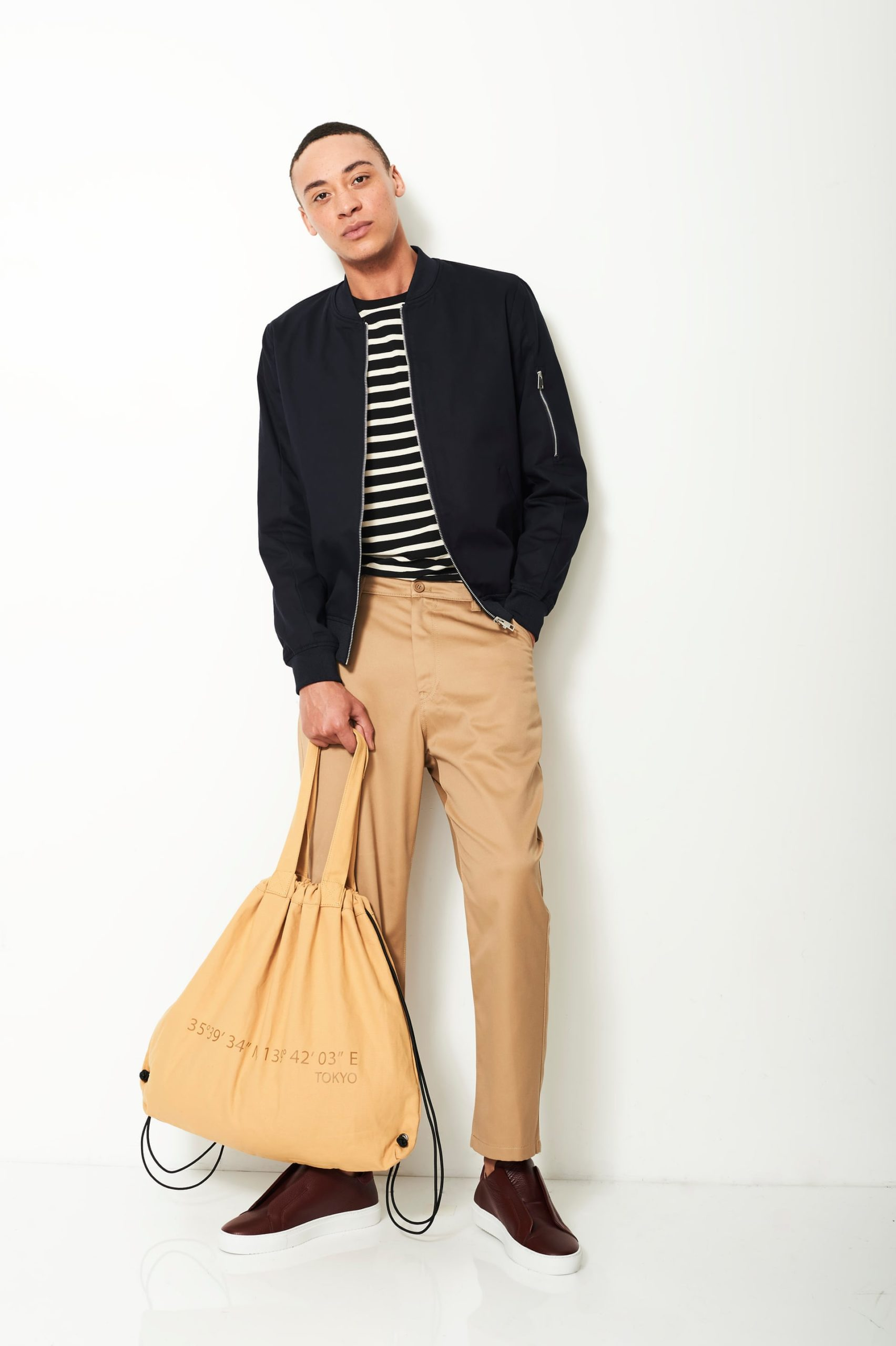 Striped Long Sleeve Shirt with a Sports Coat and a Pair of Khaki Pant