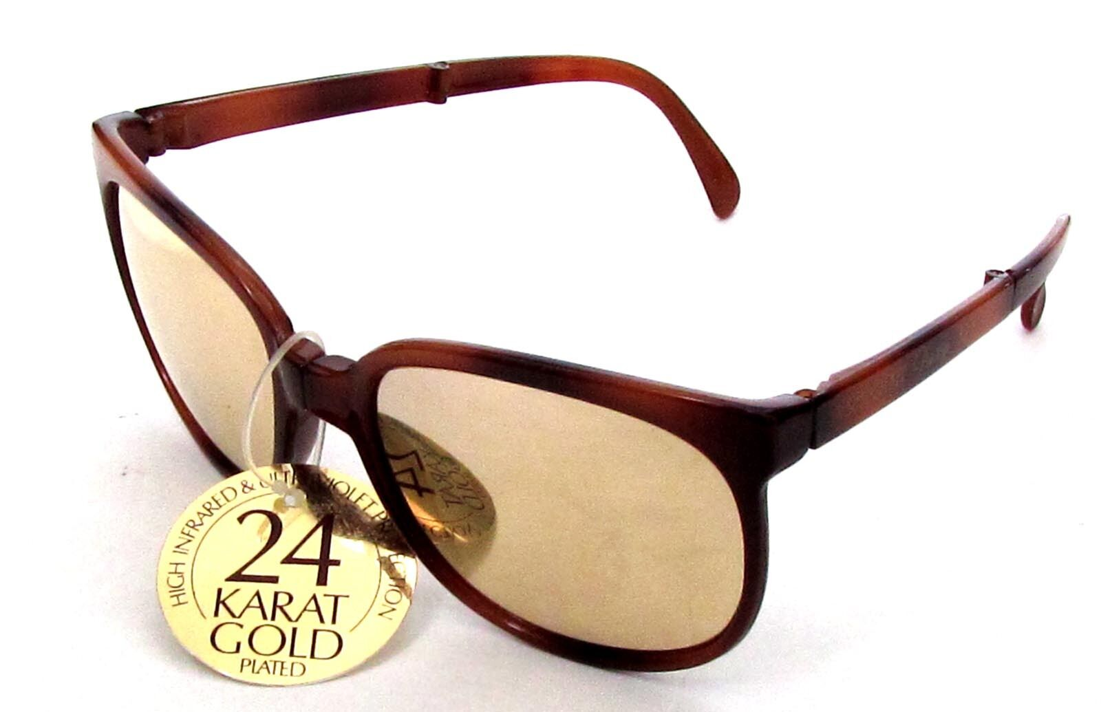 Sunglasses SUNPOCKET PRESTIGE Havana Light Lens Silvered Gold Vintage