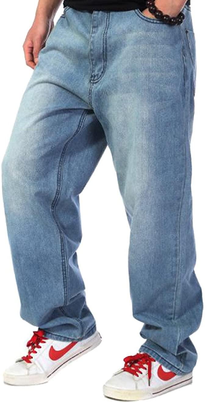 Sveizo Men's Hip Hop Blue Baggy Bottoms Denim Jeans Relaxed Pants