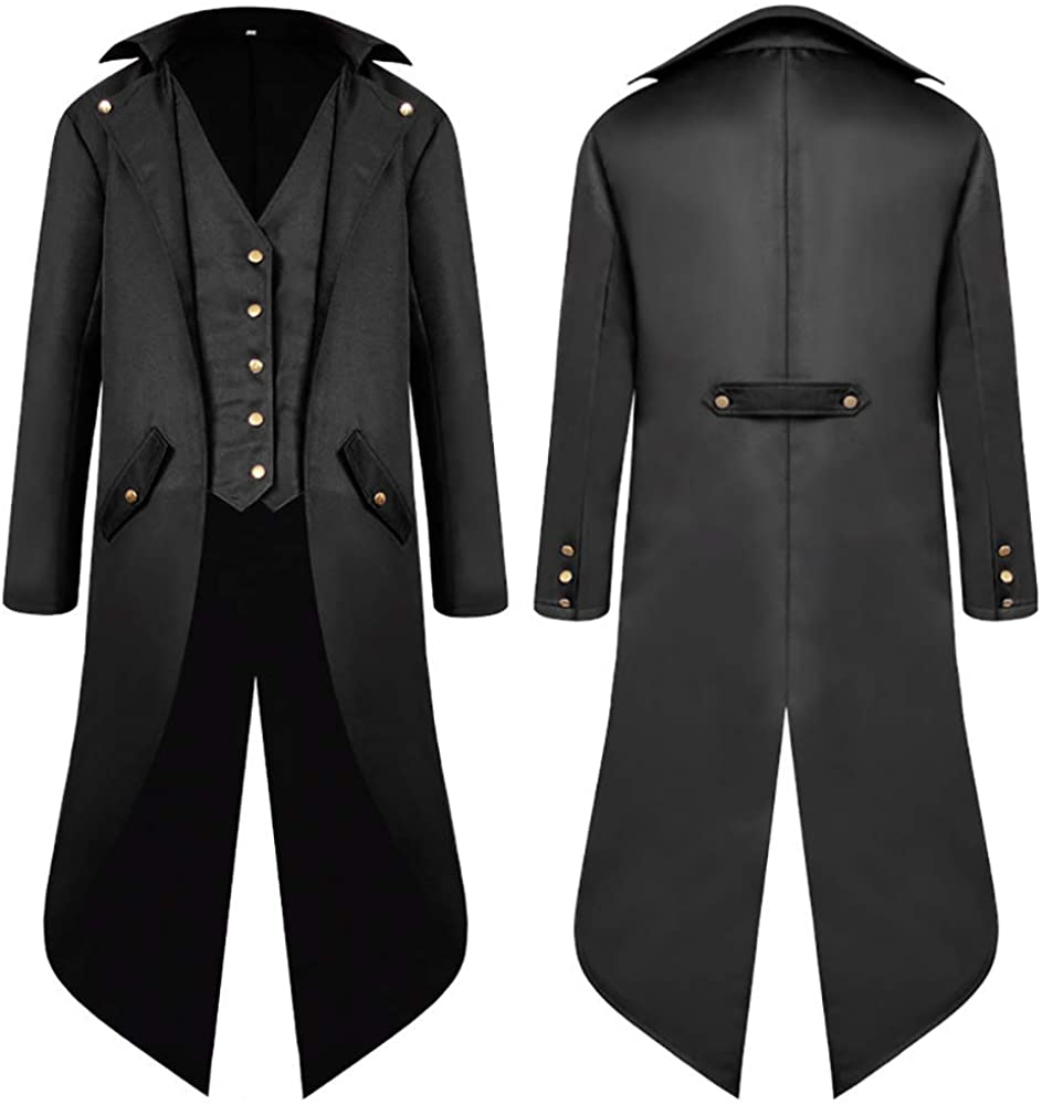 SwissWell Men's Steampunk Vintage Gothic Jacket Warm Tailcoat Men's Jacket Buttons Long Coat Cosplay Costume Digging Bomber Jacket Cape with Vest