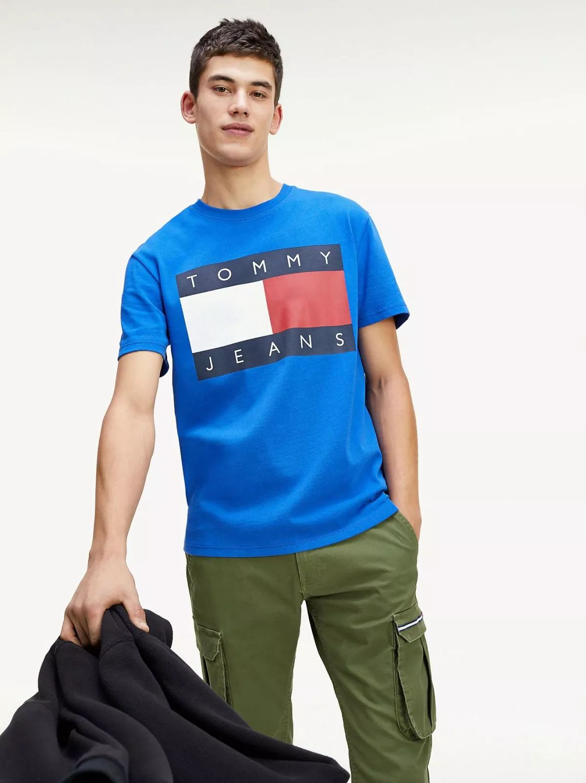 T-SHIRT and tank top men TOMMY jeans DM0DM07009 flag T-SHIRT CKB surf the WEB