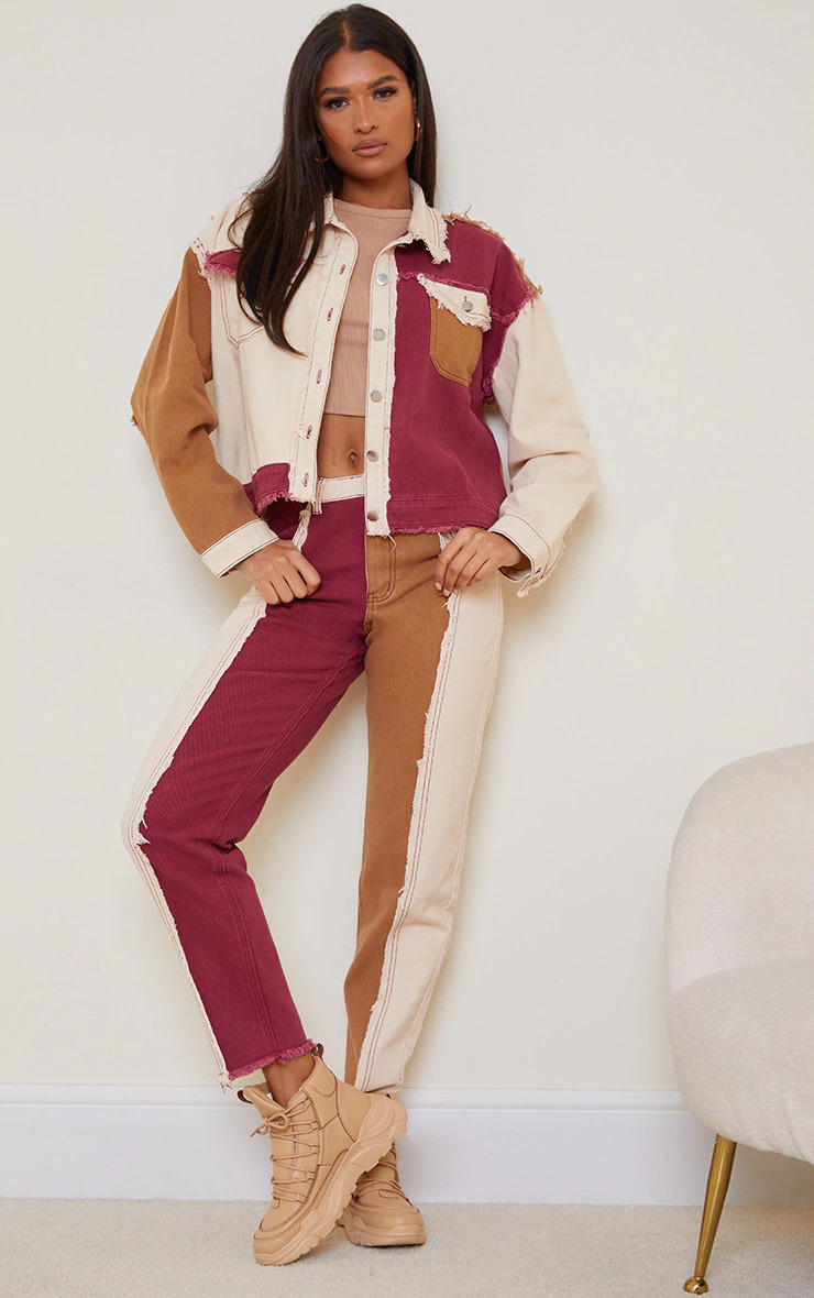 TAN FRAYED PATCHWORK MOM JEANS