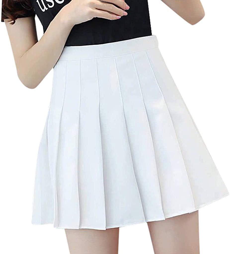 TIMEMEAN Women High Waist Pleated Tennis School Golf Skater Skirt
