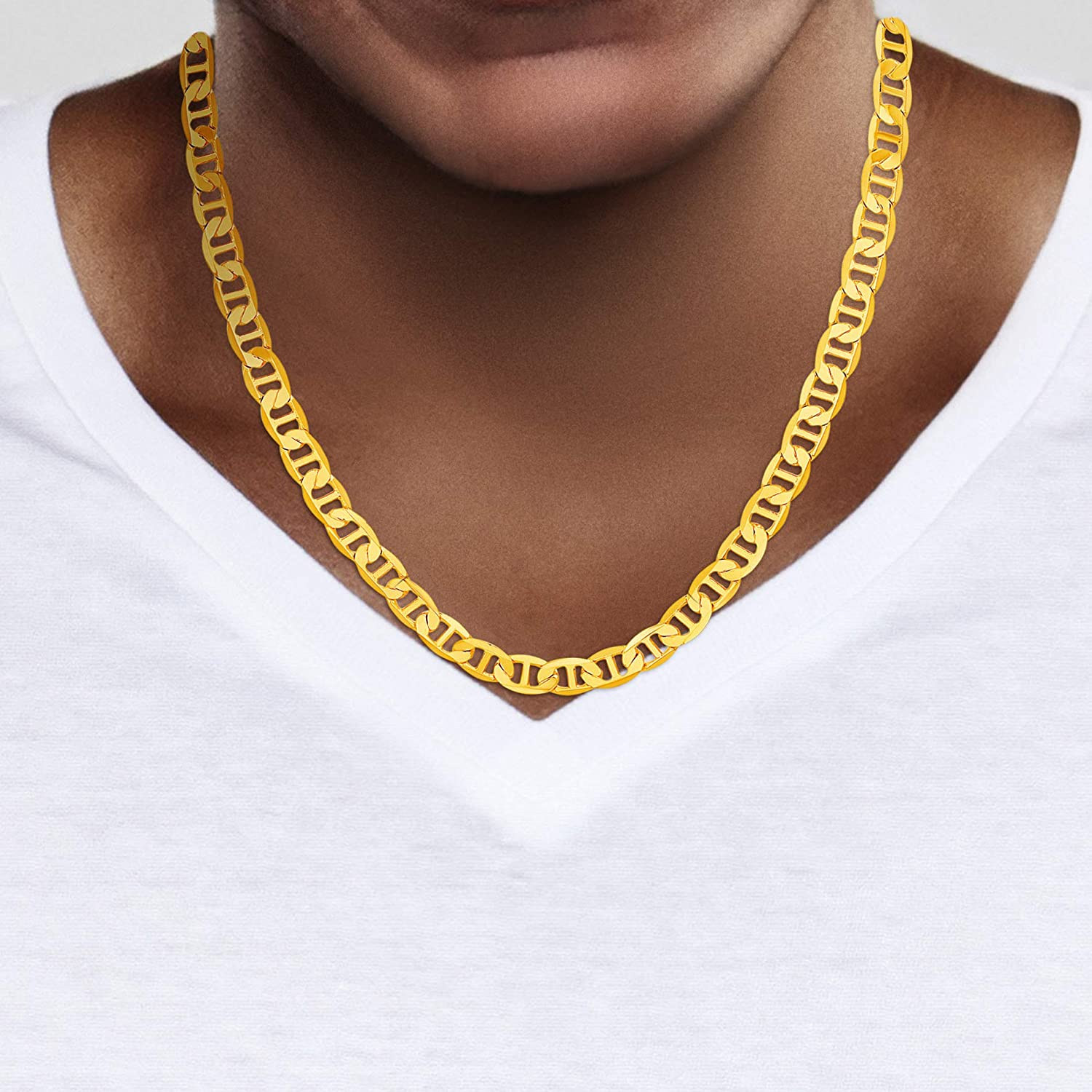 TRUCTURE BY NES 24K Yellow Gold Plated Brass 6mm Mens Mariner Chain Necklace
