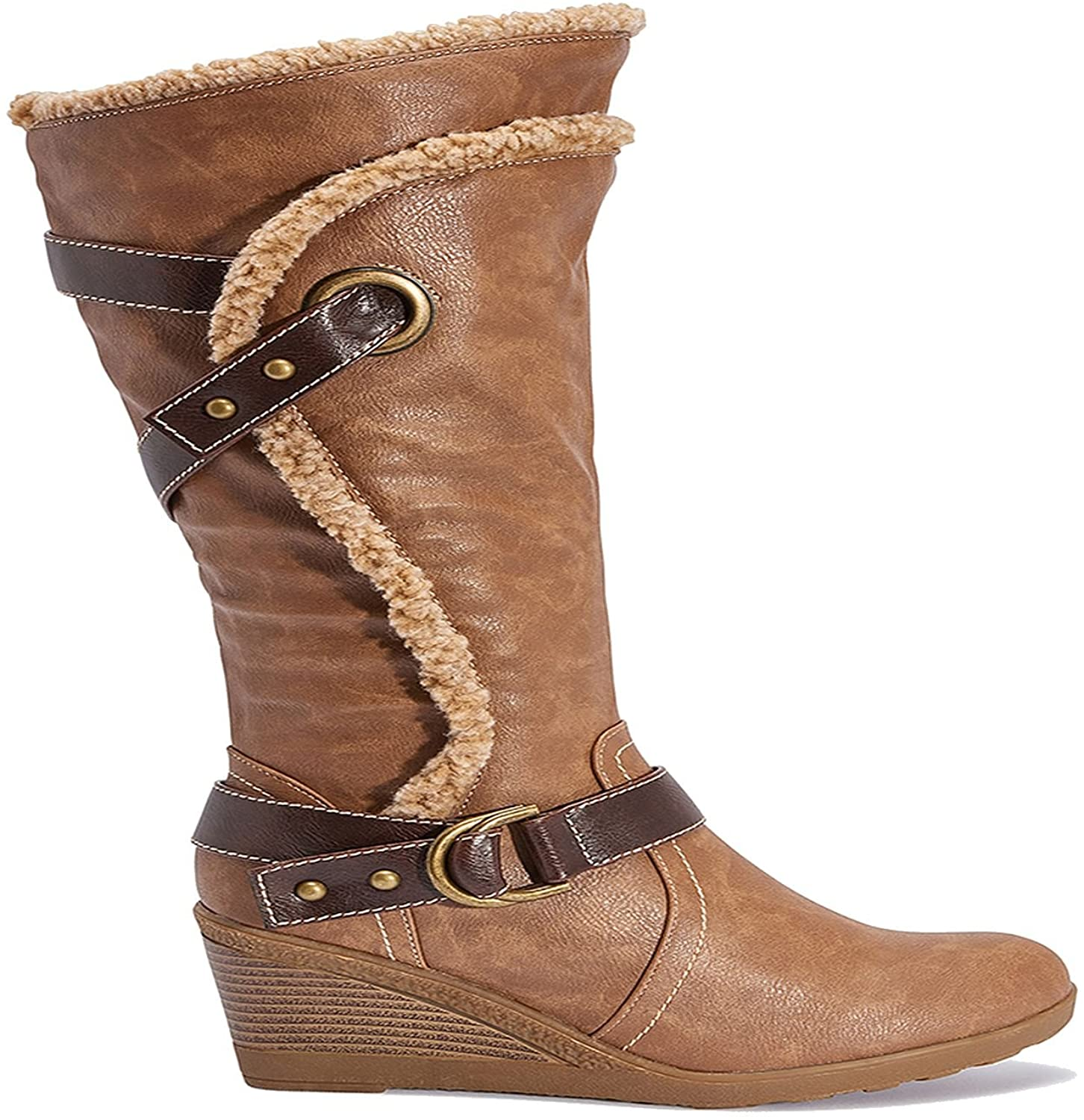 TRUFFLE COLLECTION Ladies Calf Height, Casual Wedge Heel Boots