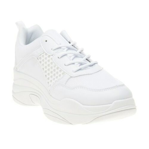 TRUFFLE WOMENS BLOOM PLATFORMS TRAINERS WHITE