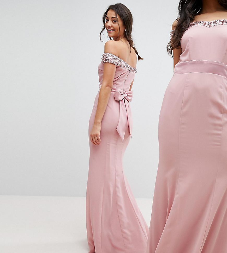 Tall Bardot Sequin Detail Maxi Dress
