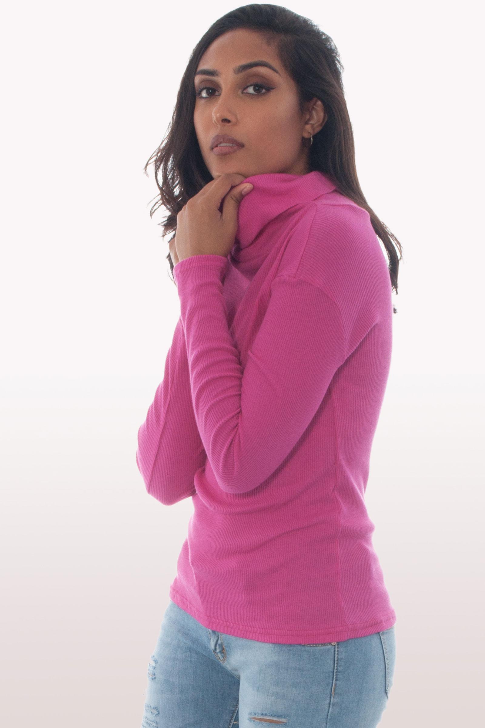 Tara Hot Pink Ribbed Polo Neck Knit Jumper