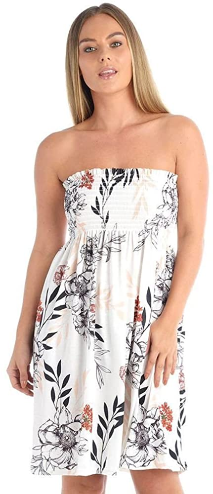 The Celebrity Fashion Womens Floral Printed Sheering Top Strapless Boobtube Bandeau Swing Dress
