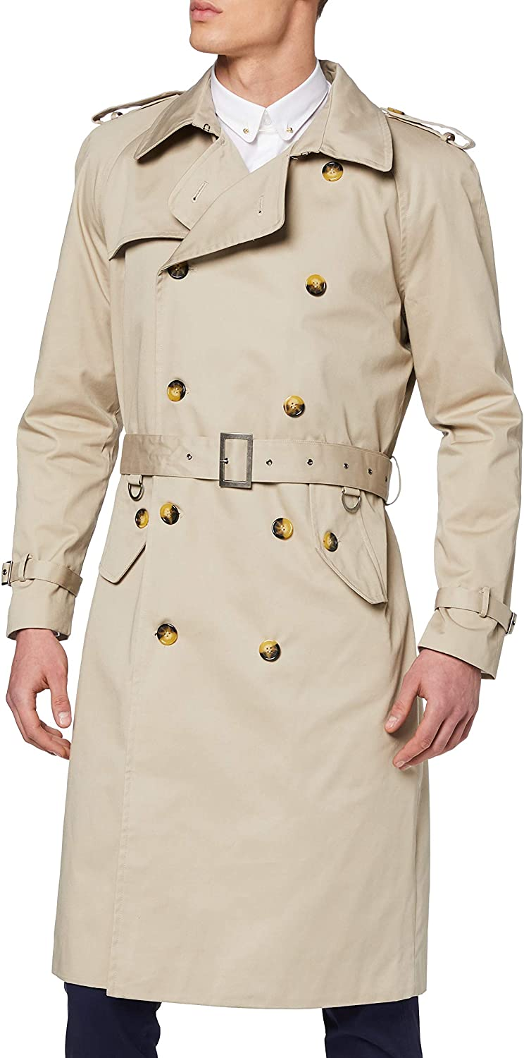 The Platinum Tailor Mens Beige Stone Traditional Double Breasted Long Trench Coat Cotton Military Rain Mac
