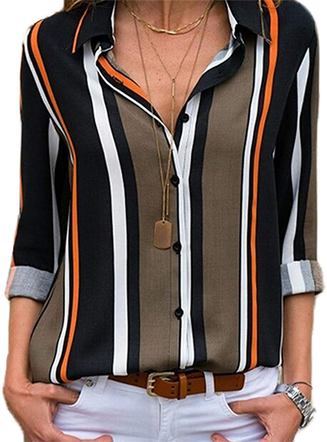 Thrivinger Women V Neck Striped Roll up Sleeve Button Down Blouses Tops, Women's Striped Printing Long Sleeve Shirts Blouses, Long Sleeve V Neck Casual Business Blouses Tops
