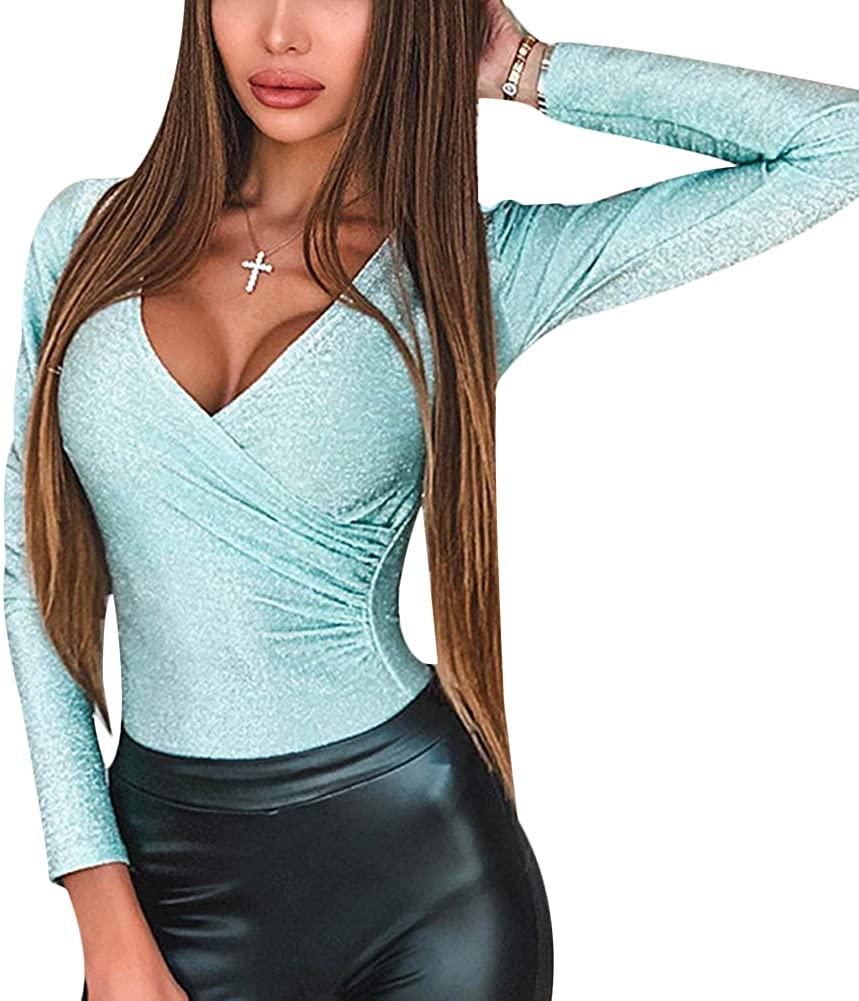 Tidec Women Sequin Bodysuit Long Sleeve Wrap V Neck Shiny Bodysuit Tops Clubwear