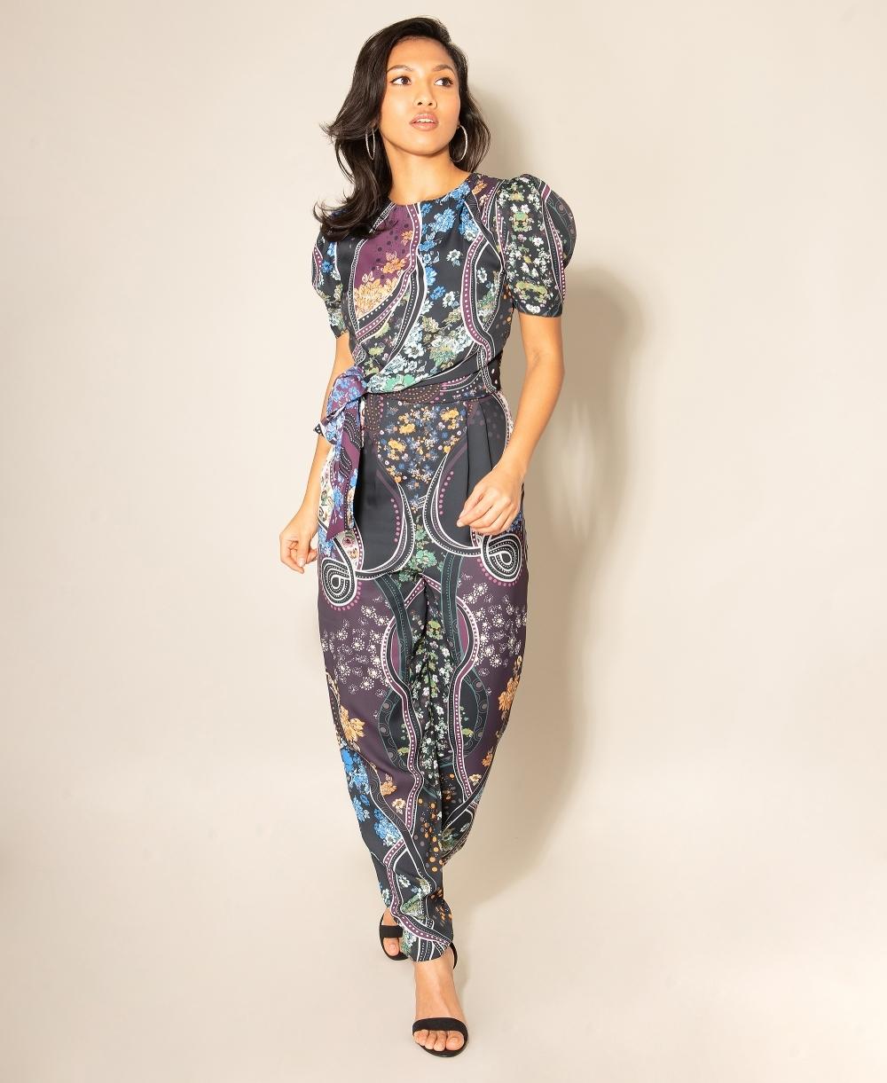 Tie Waist Paisley Print Jumpsuit