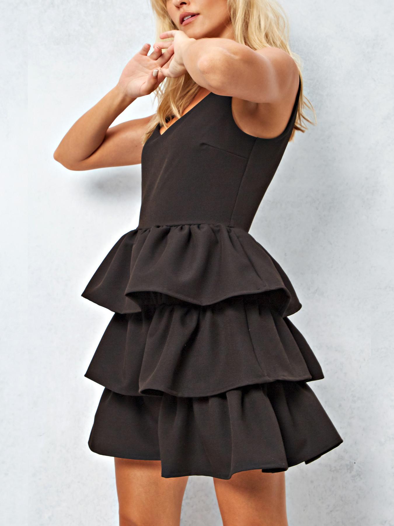 Tiered Mini V-Neck Dress