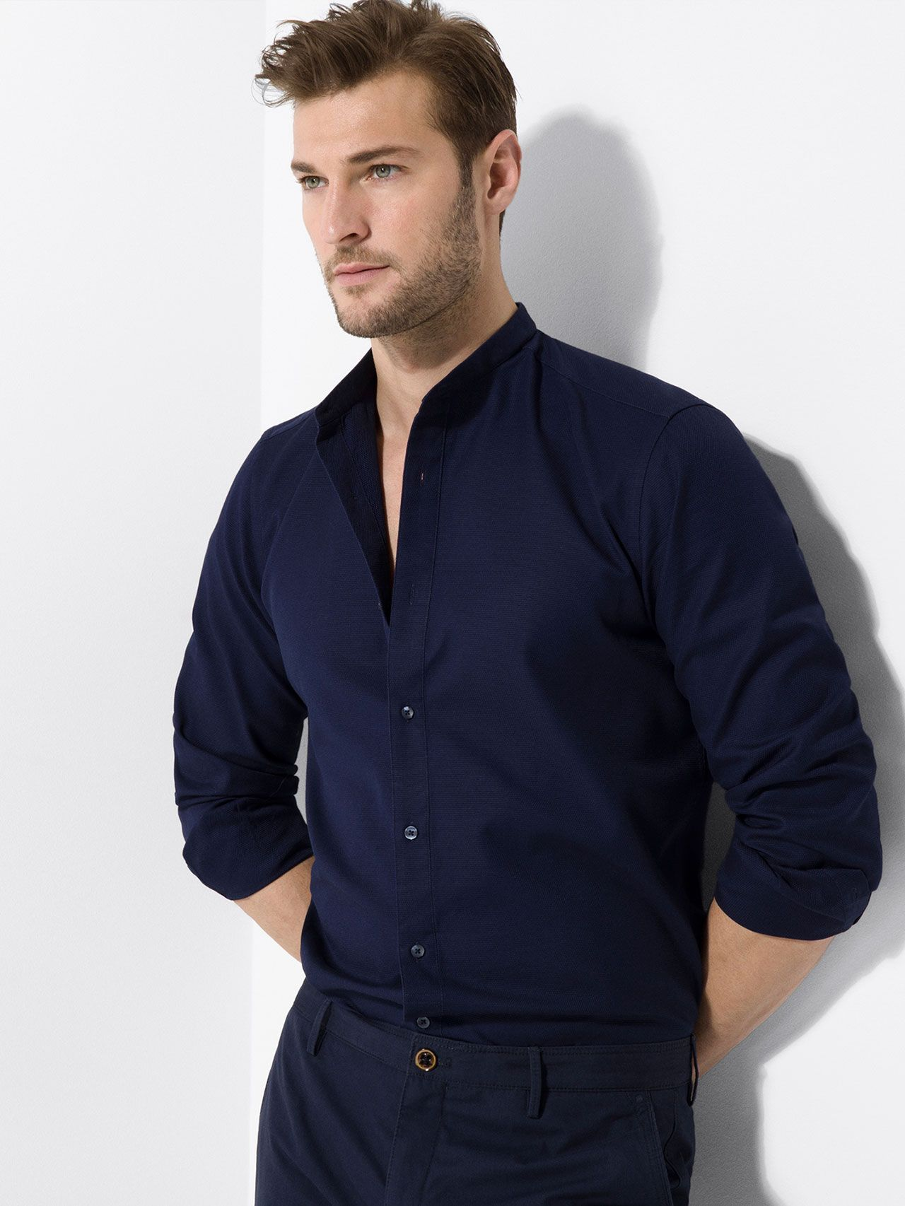dark blue Mandarin Collar Shirt
