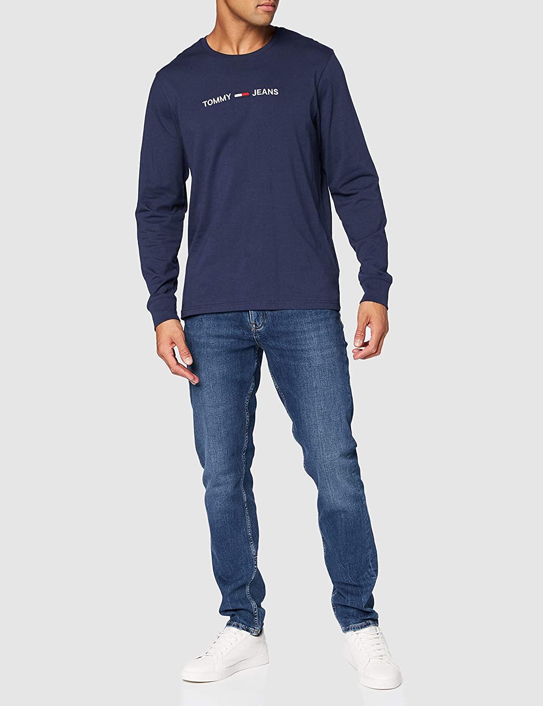 Tommy Jeans Men's TJM Longsleeve Straight Logo Tee Shirt