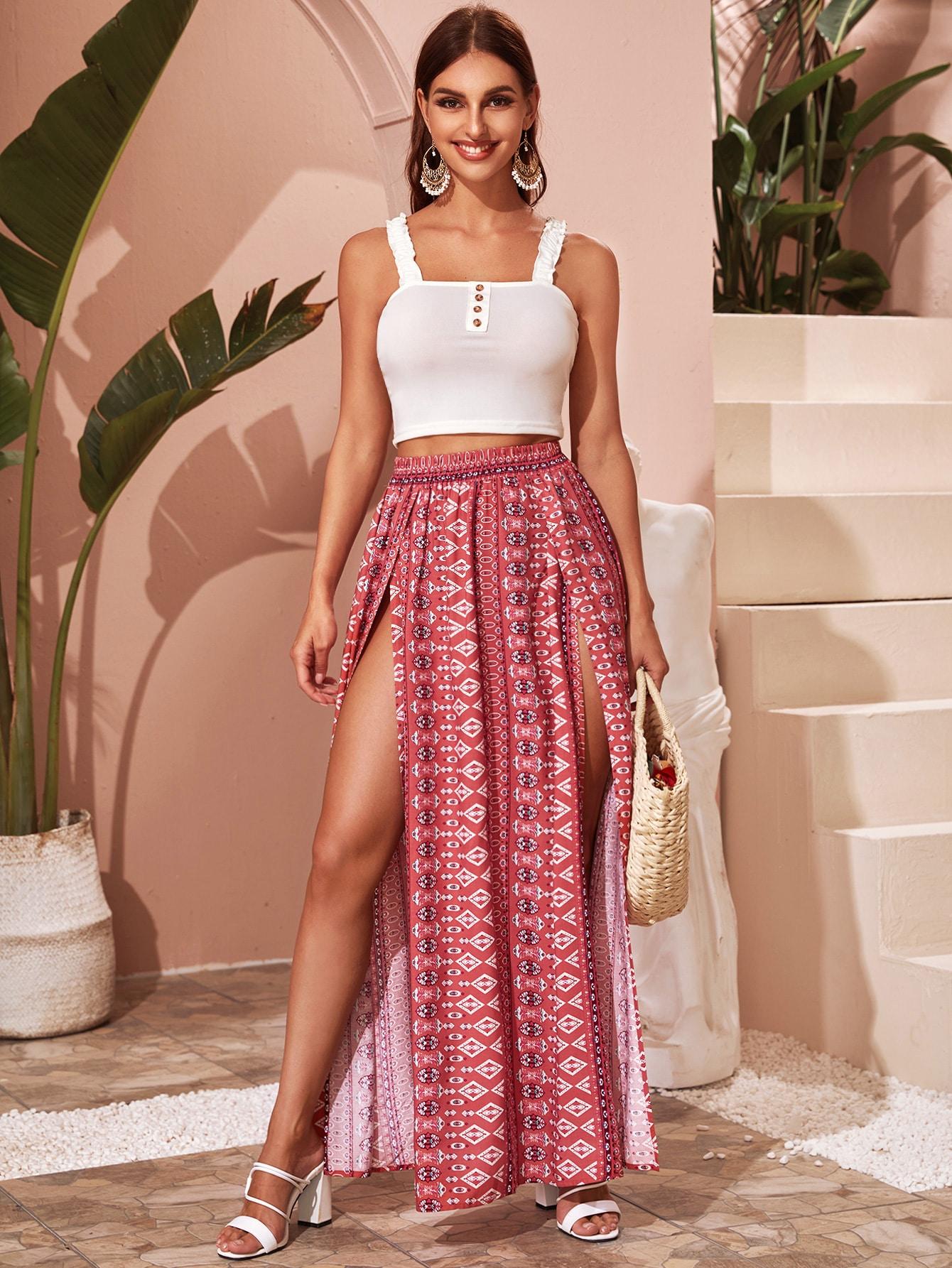 Tribal Print M-slit Skirt