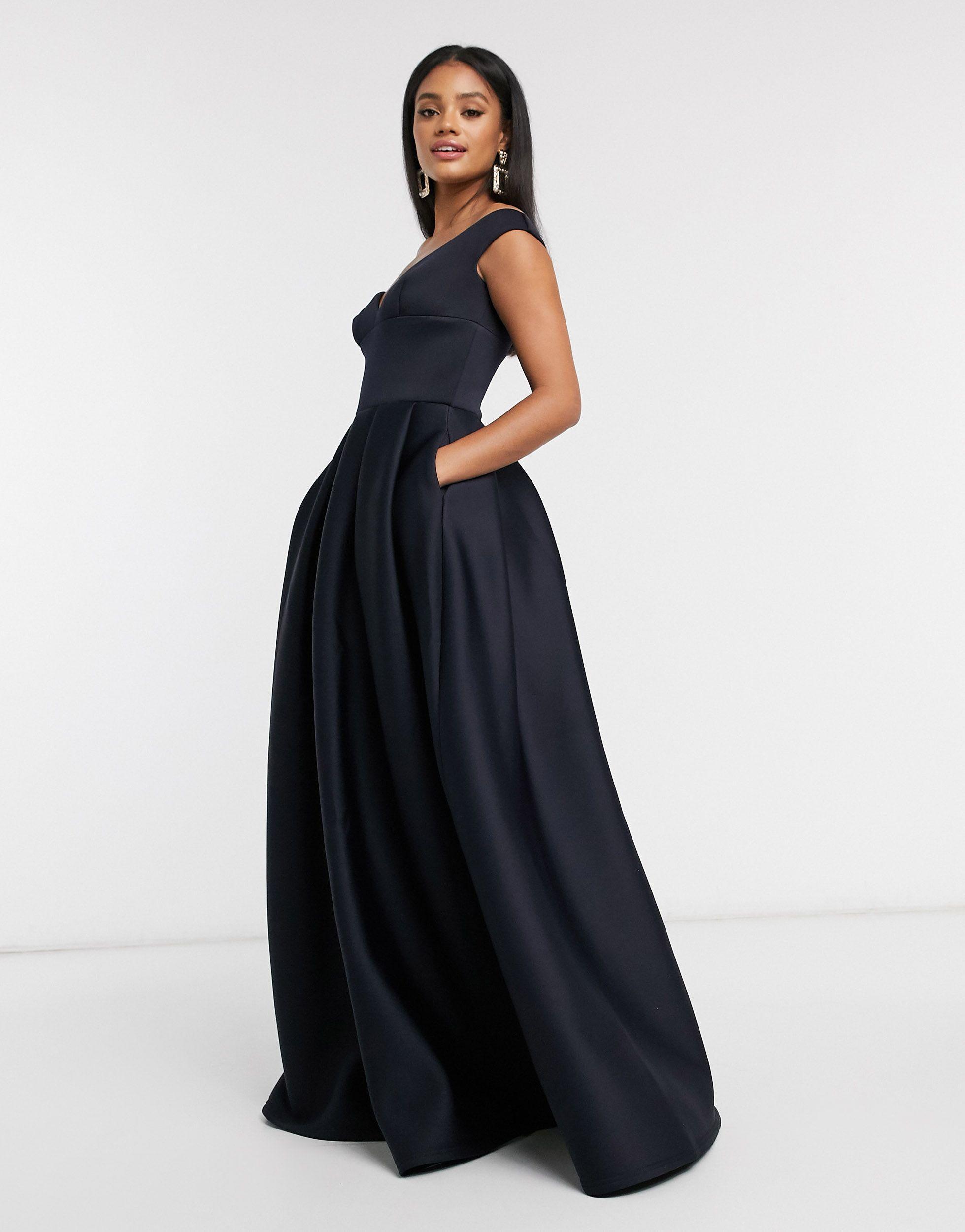 True Violet Women's Blue Black Label Bardot Prom Maxi Dress With Pockets