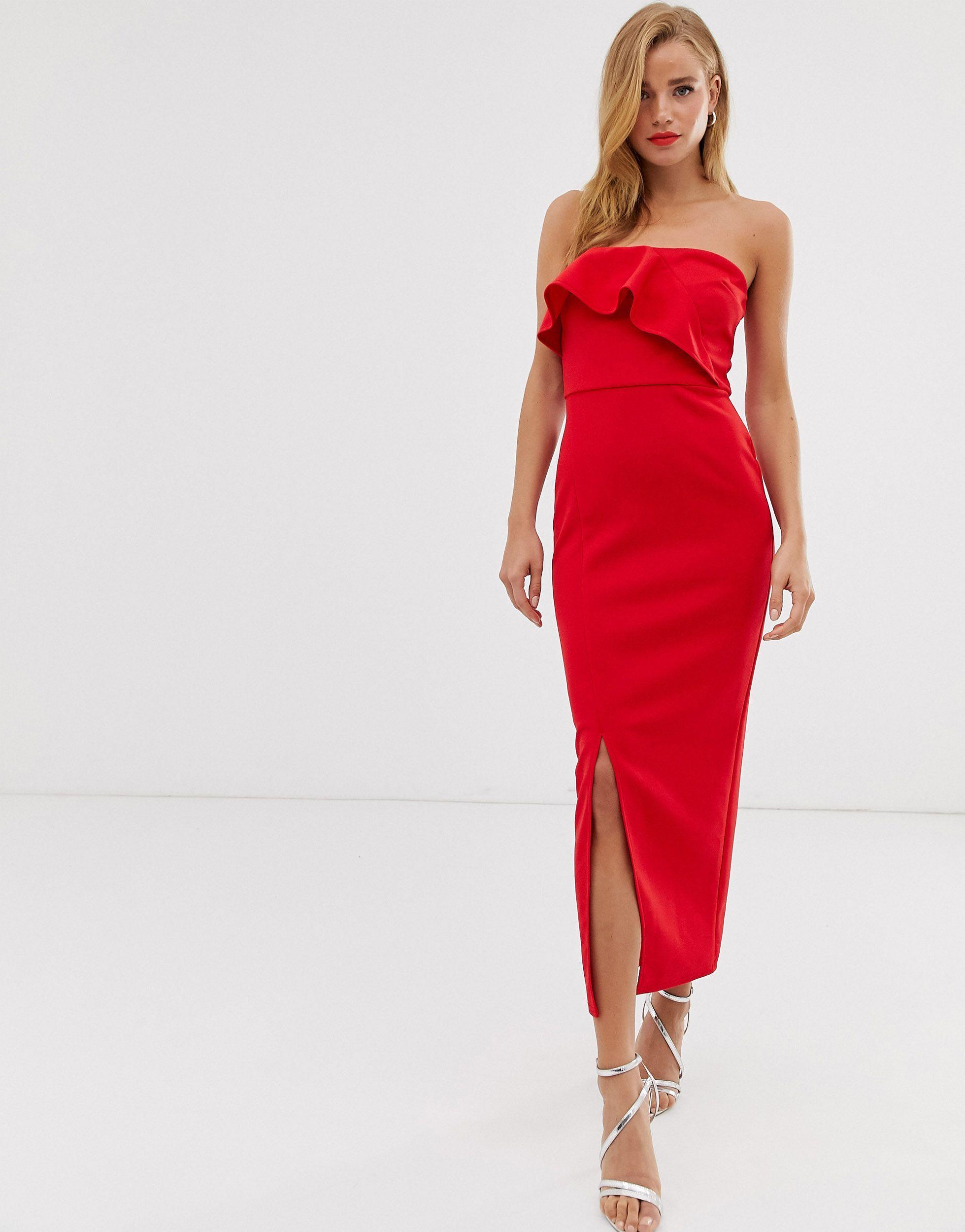 True Violet Women's Red Drape Frill Midaxi Dress
