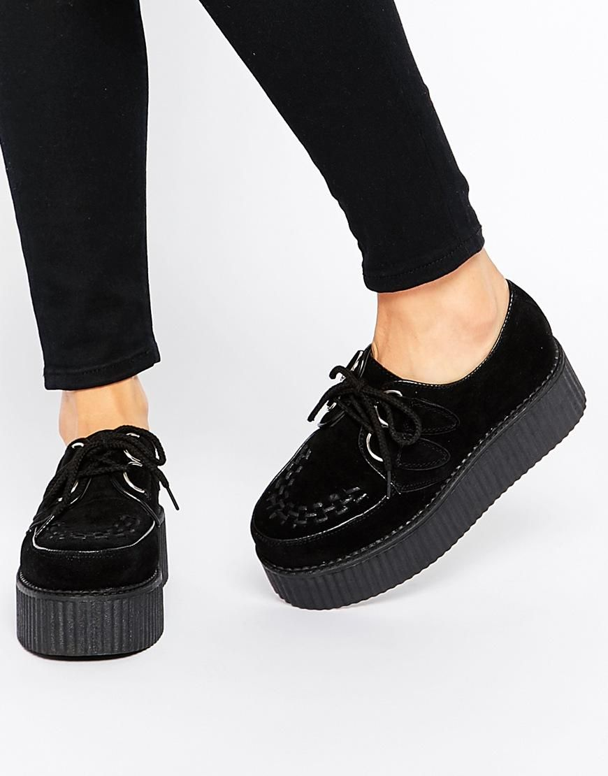 Truffle Lace Up Flatform Creeper Shoes