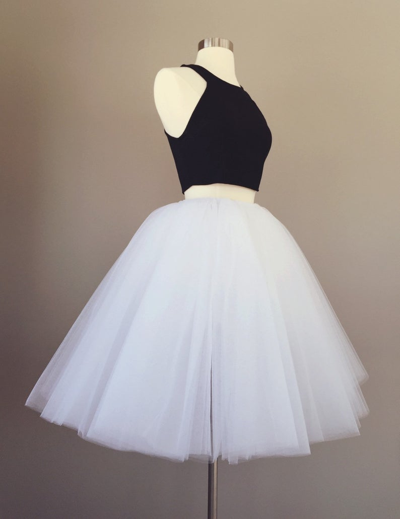 Tulle skirt, Adult Bachelorette Tutu, white tulle skirt, white tutu- custom any length