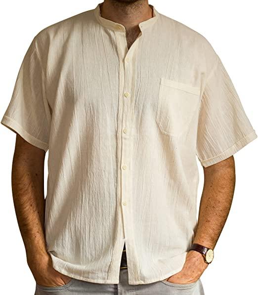 Tumia LAC - Grandad Shirt - Short Sleeves - 100% Cotton, Ethically Traded