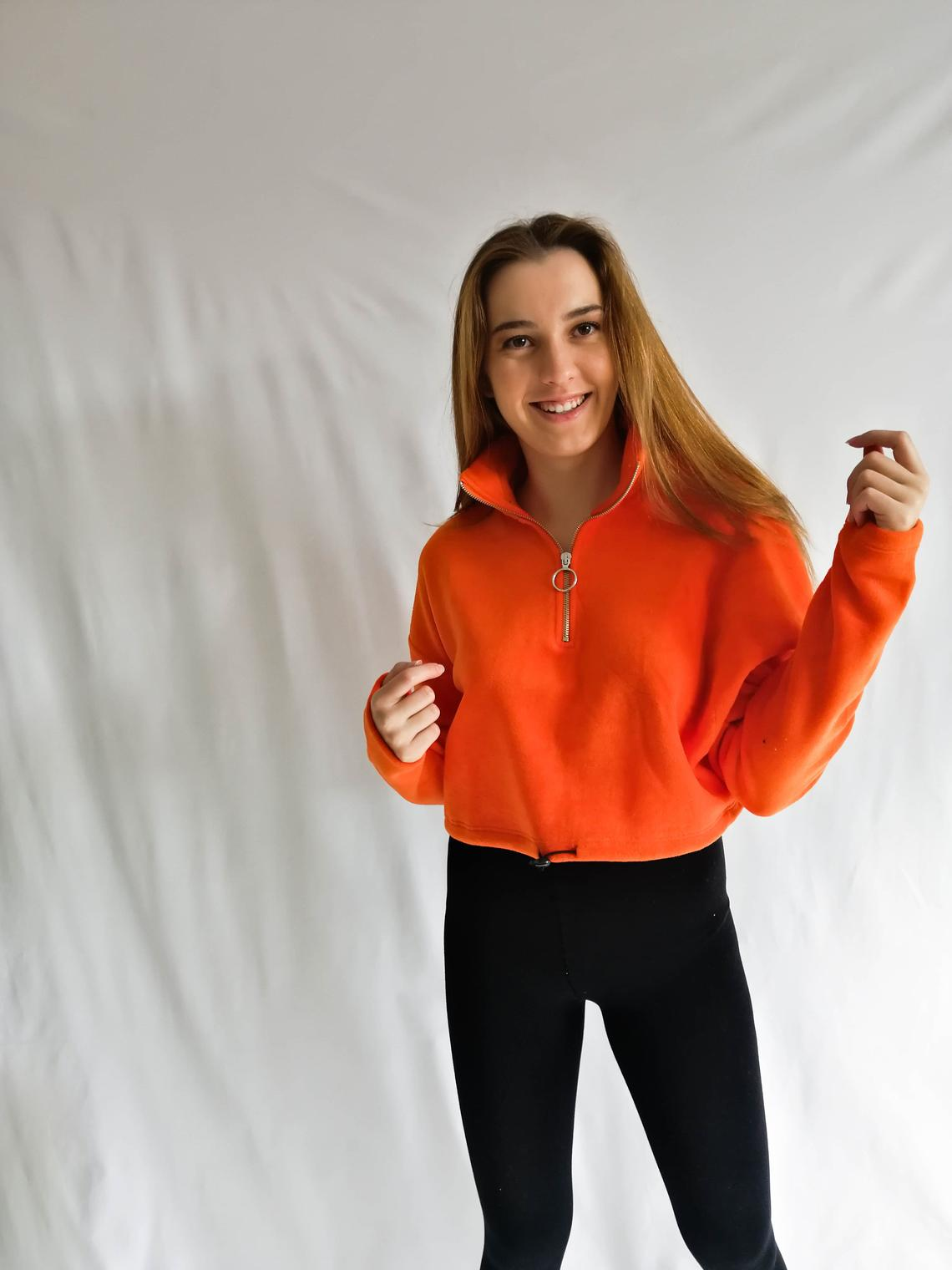 Turtleneck Orange Crop Sweatshirt | Long Sleeve Sweatshirt | Polar Crop Sweat for Women | Top with no Hoodie