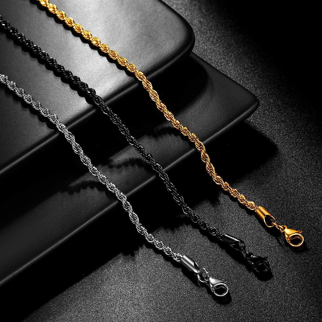 Twist Rope Chain Men 316 Stainless Steel 3mm/6mm Width Twisted Chains Mens 18 inches-30 inches Necklace Black Gun/18K Gold Plated Hip-Hop Jewelry