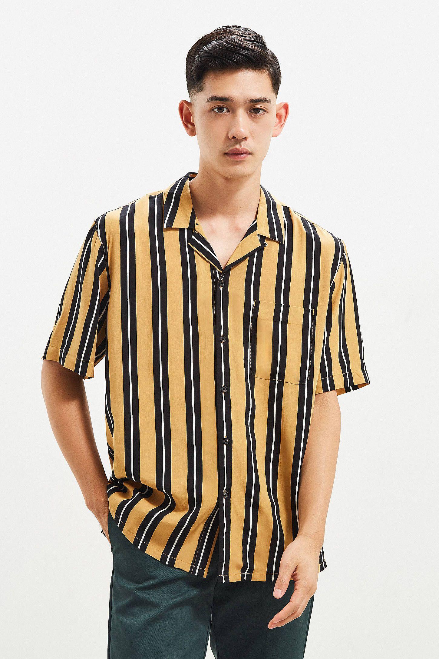 UO Rayon Vertical Stripe Short Sleeve Button-Down Shirt