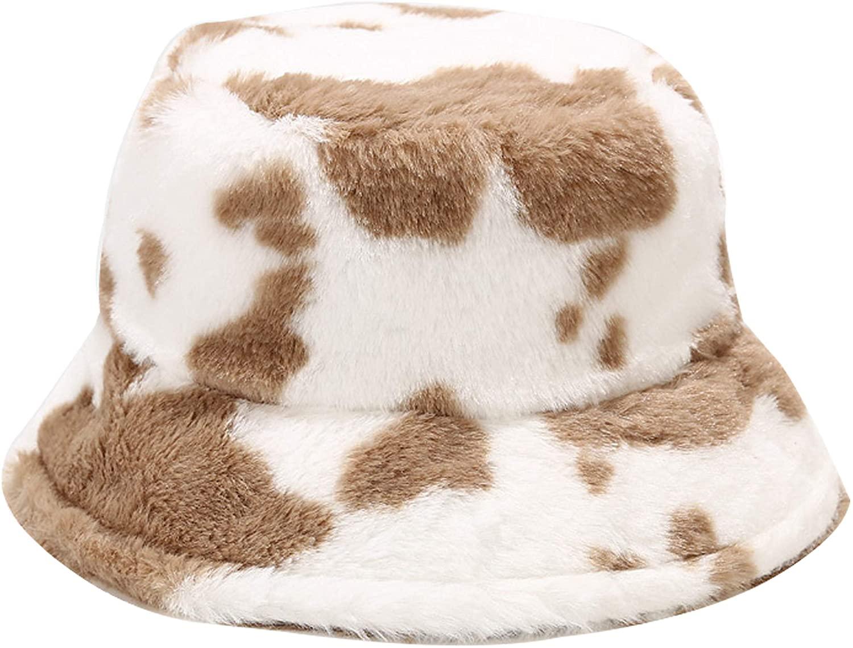 Umeepar Winter Faux Fur Bucket Hat Fluffy Warm Hat for Women Men
