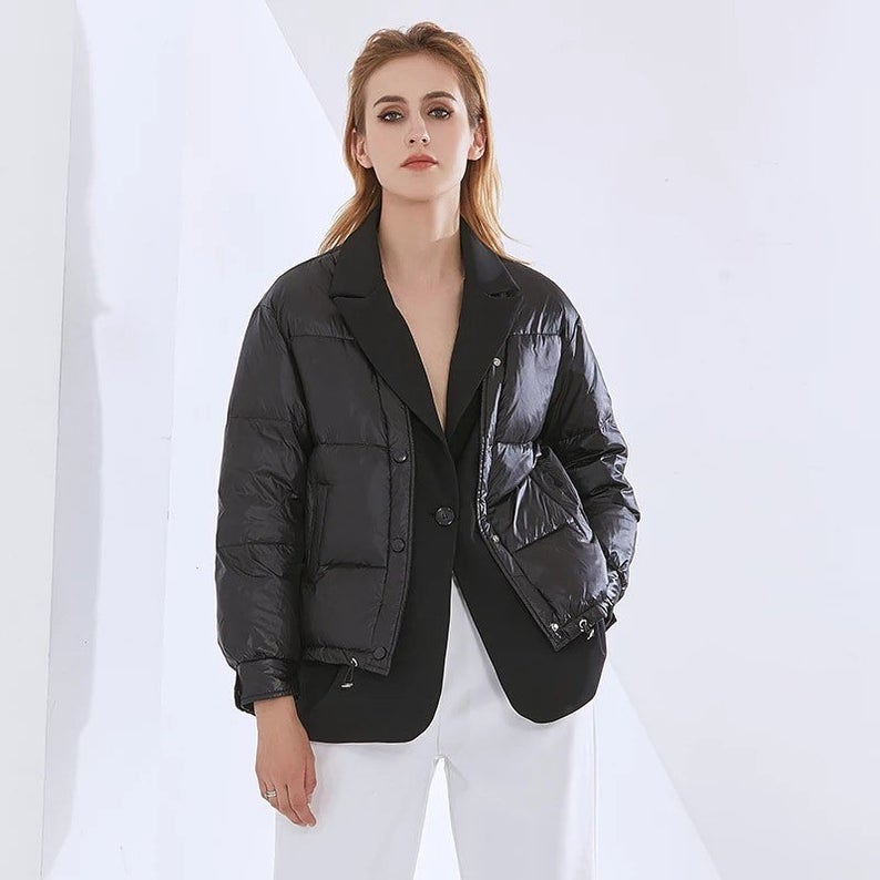 Unique Oversize Parka Padded puffa blazer coat outerwear half puffer half blazer jacket