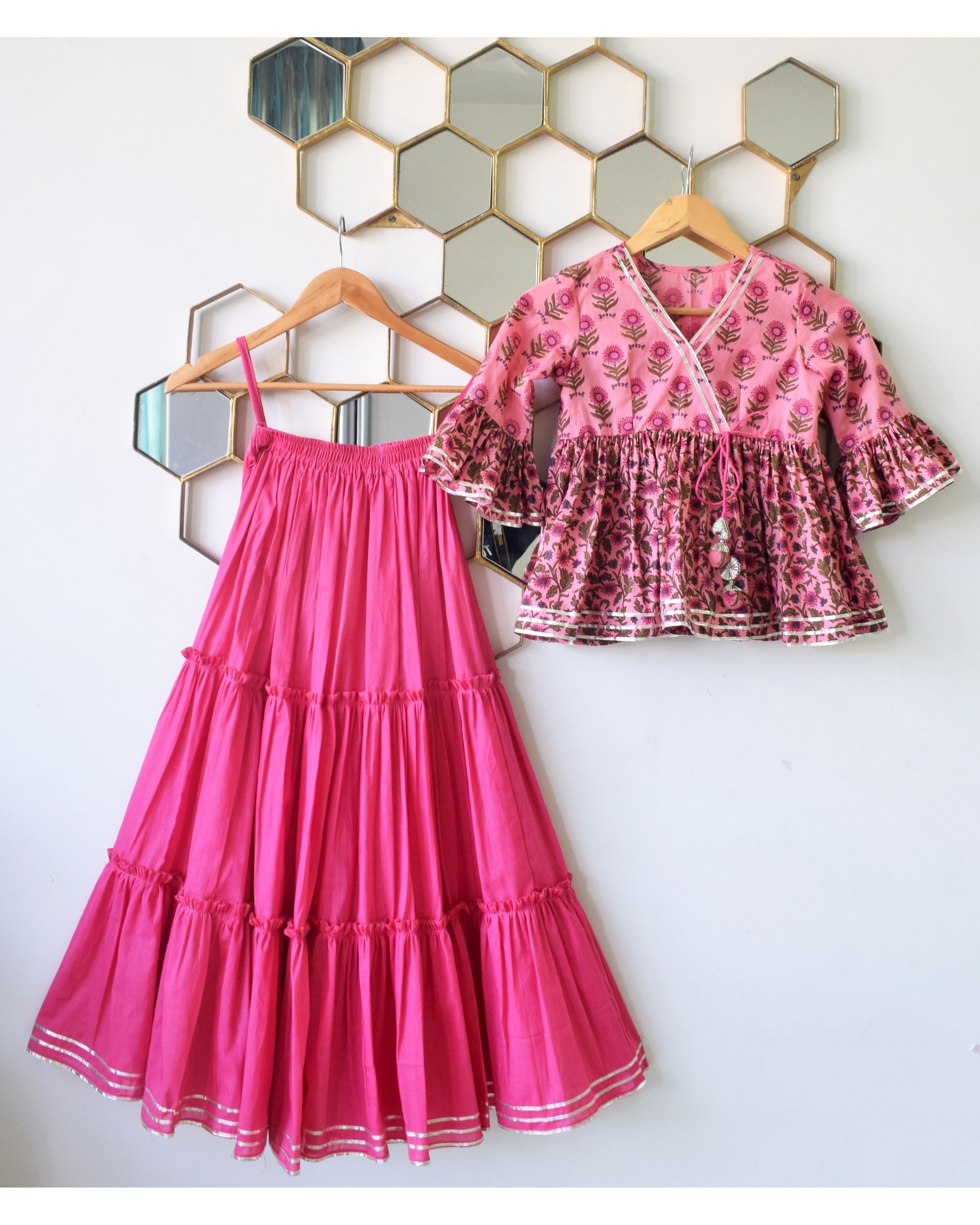 Pink Pleated tiered skirt