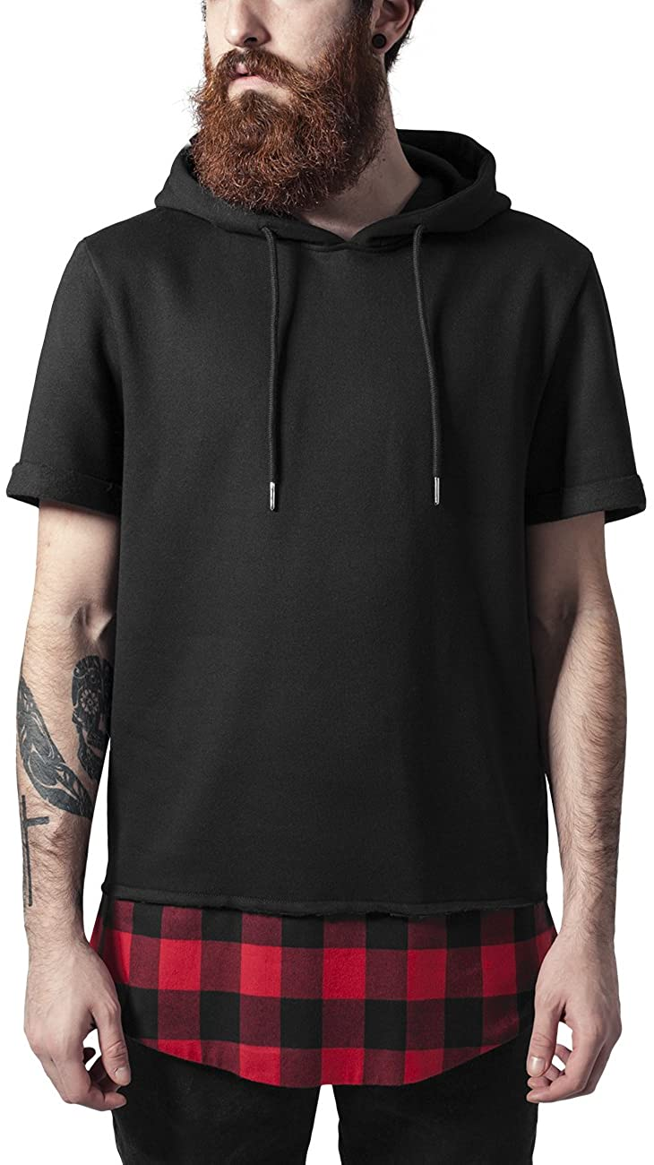 Urban Classic Men's Peached Flanell Bottom Short Sleeve Sports Hoodie