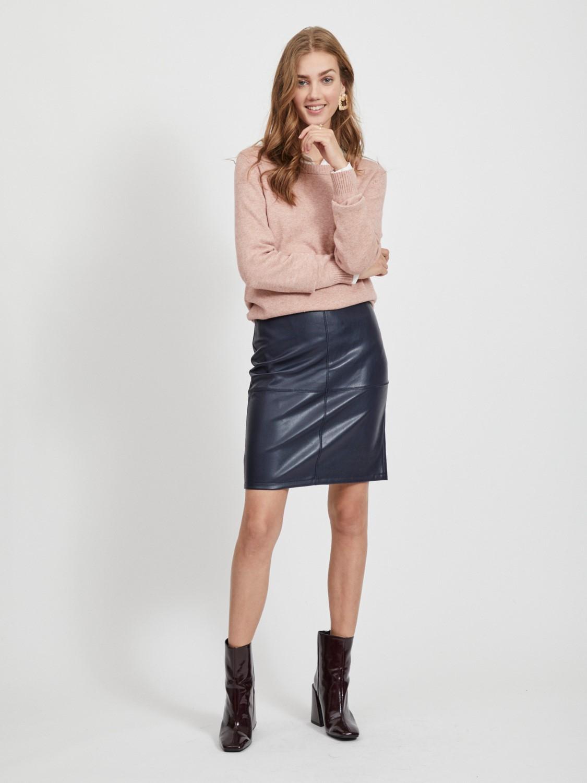 VILA Faux leather mini blue skirt