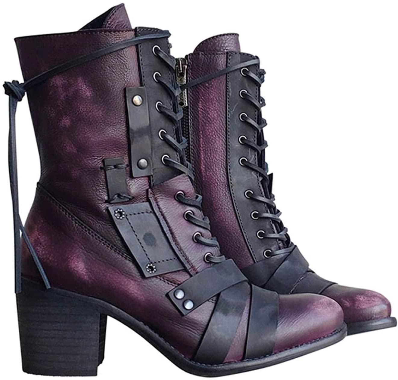Valink Women's Retro Comfy Chunky-heel Lace-up Boots