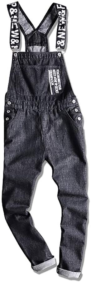 VerOut Mens Relaxed Fit Denim Dungarees - Stonewash Classic Overalls
