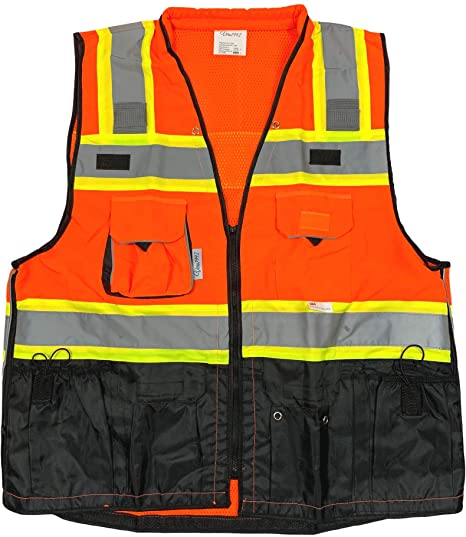 Vero1992 (C) Vest Mens Class 2 Black Series Safety Vest With Zipper and Utility Pockets