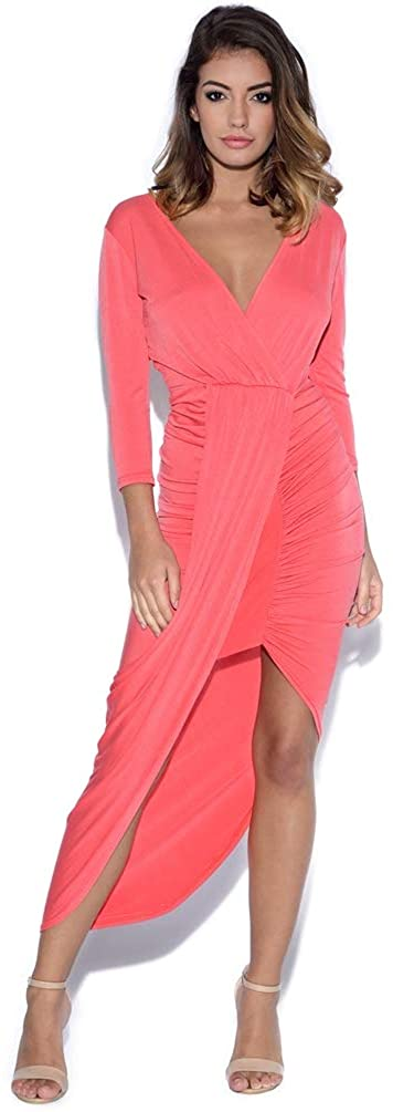 Vestry Plunge Front Drape Midi Dress