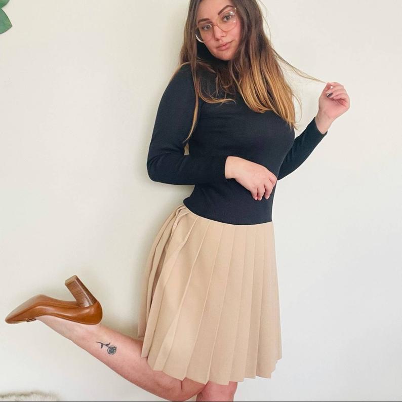 Vintage 1960s drop waist pleated skirt knee length long sleeve dress