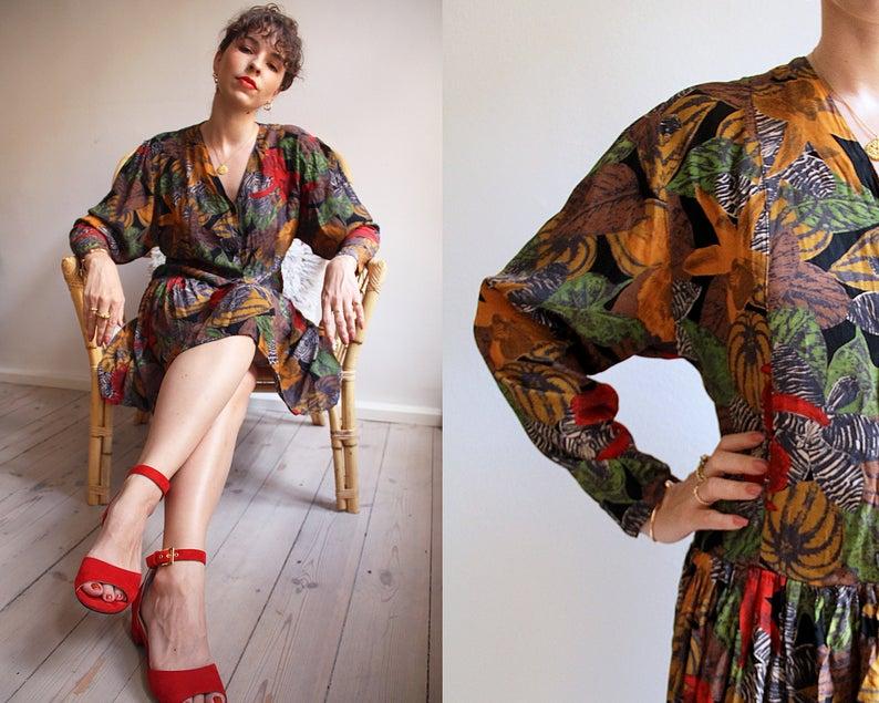 Vintage '80s Rio Dress. 1980s Drop Waist Dress Print Dress
