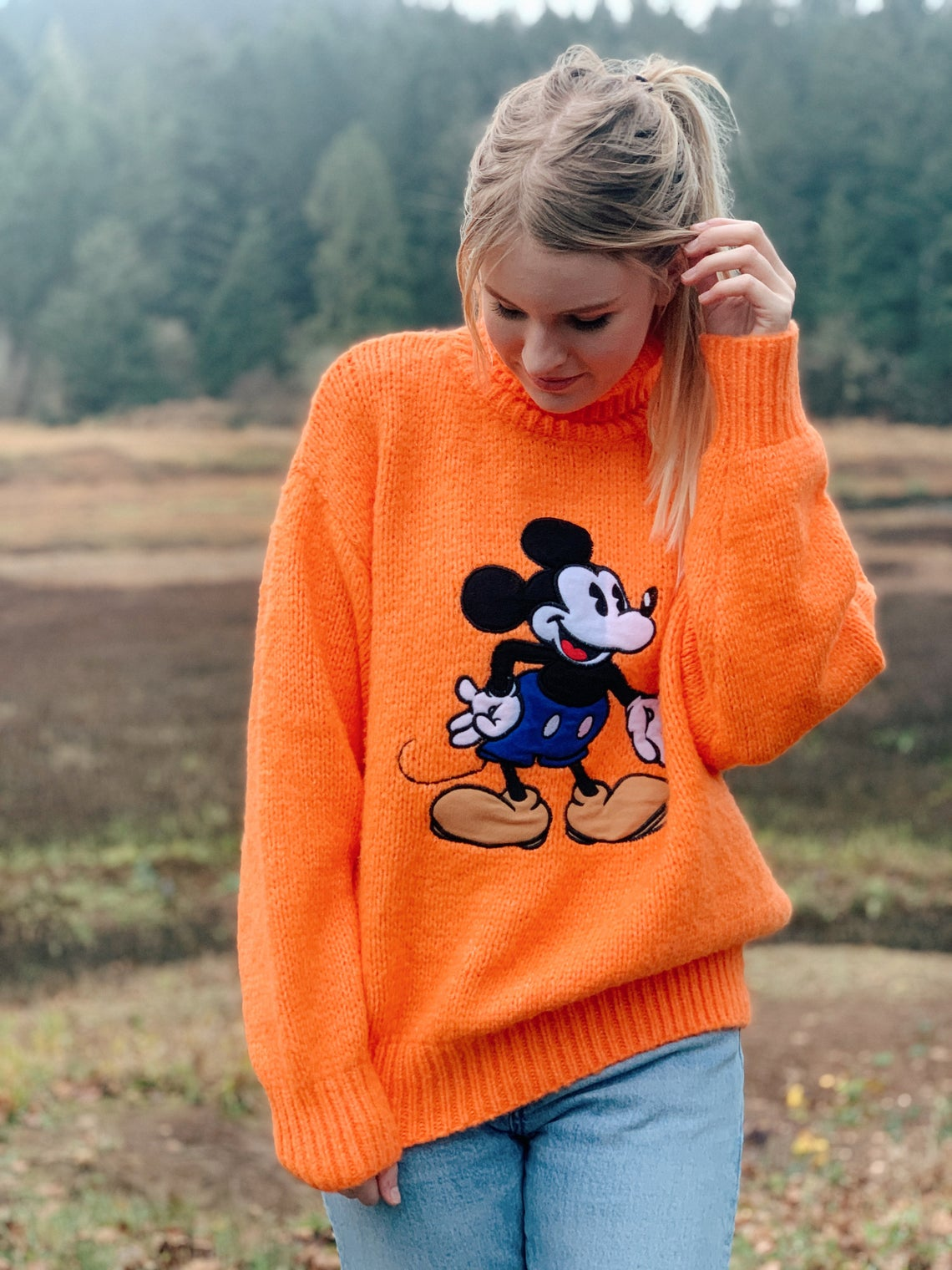 Vintage Mickey Mouse Logo Turtleneck Sweater