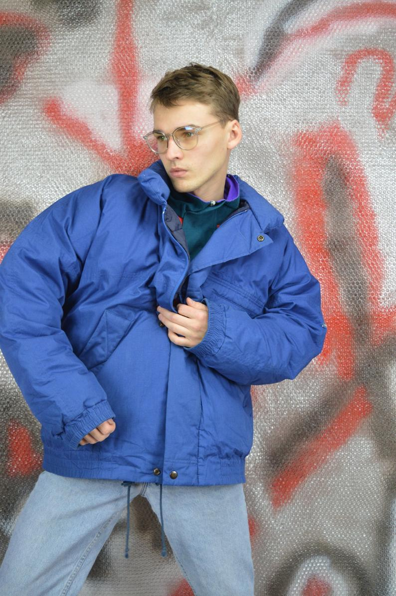 Vintage blue classic puffer jacket