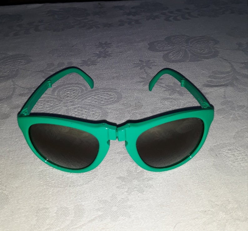 Vintage rare green Porsche folding sunglasses Sunpocket original case