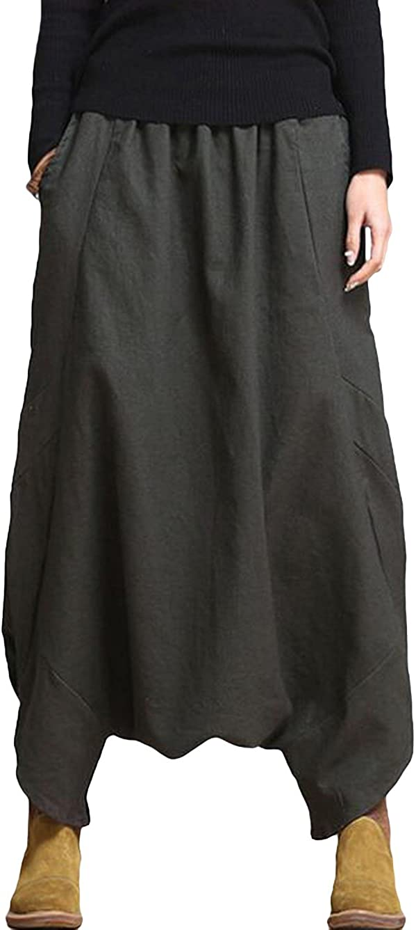 Vogstyle Women's Casual Drop Crotch Harem Trousers