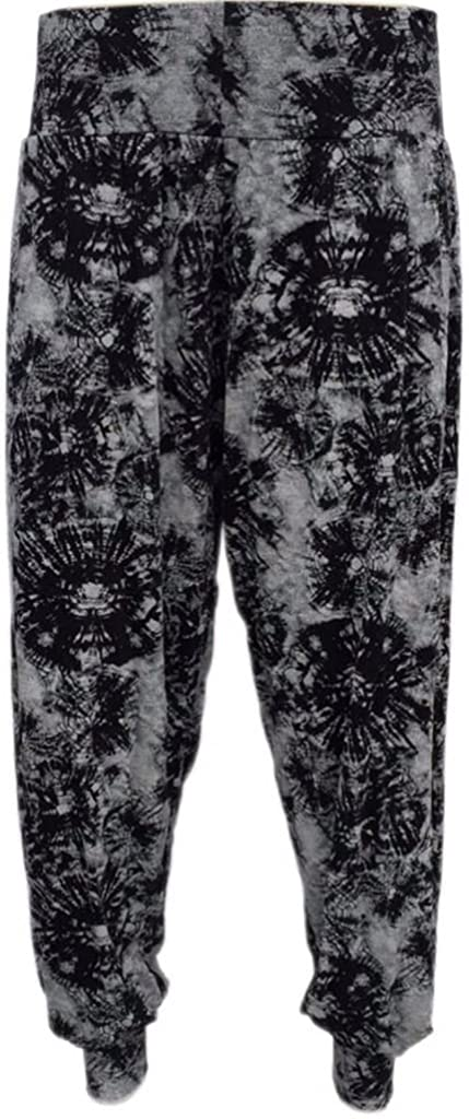 WOMEN'S LADIES CUFFED ANKLE PRINTED HAREM BAGGY ALI BABA TROUSERS PAINTS